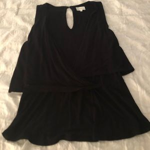 Anthropologie Black Faux Wrap Tank Sz M